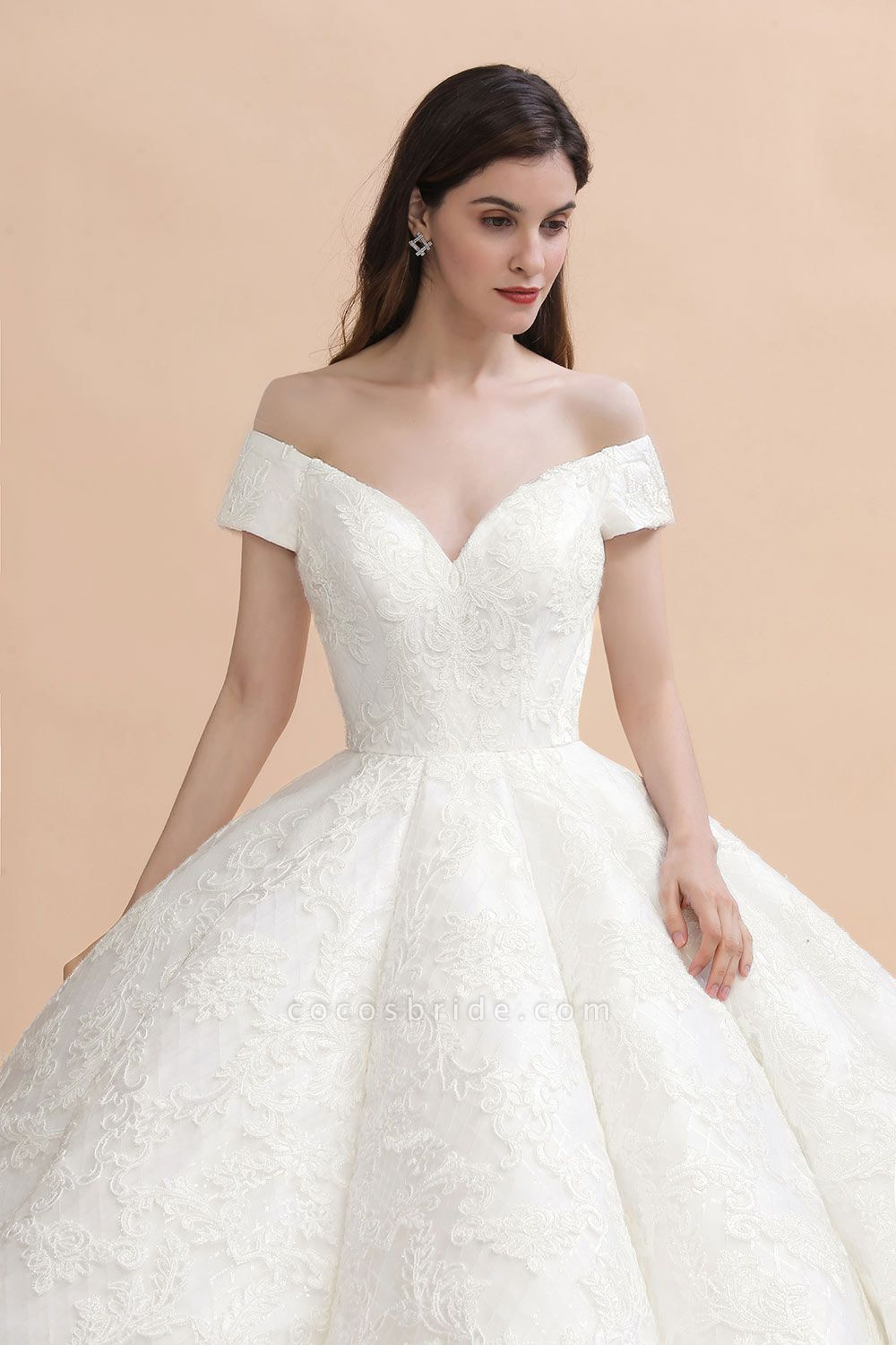 Graceful Off The Shoulder Lace Tulle Ball Gown Wedding Dress