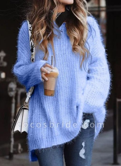 Round Neckline Solid Casual Loose Long A-line Sweaters