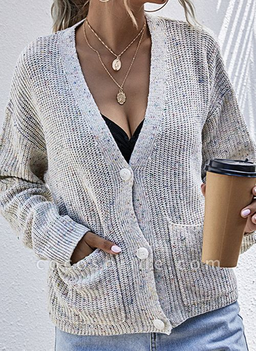 V-Neckline Color Block Casual Loose Regular Pockets Buttons Sweaters