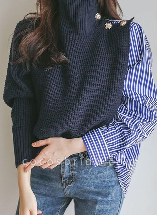 High Neckline Stripe Casual Loose Regular Buttons Sweaters