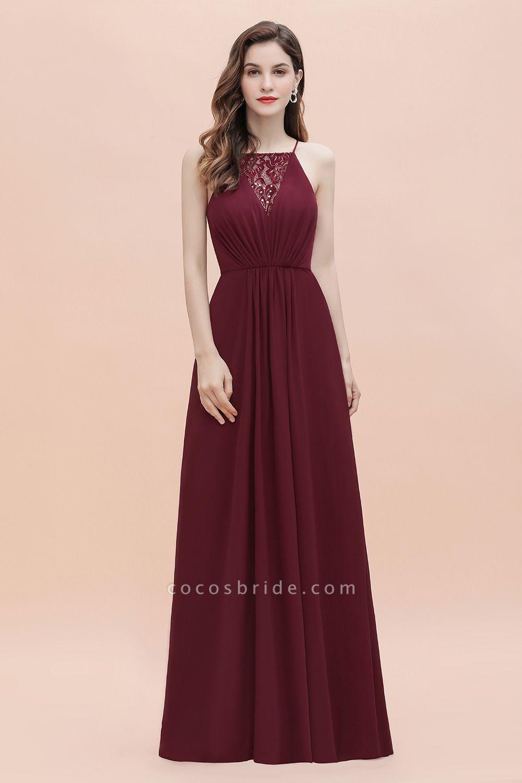 Straps Bateau A-line Sequins Chiffon Evening Prom Dress