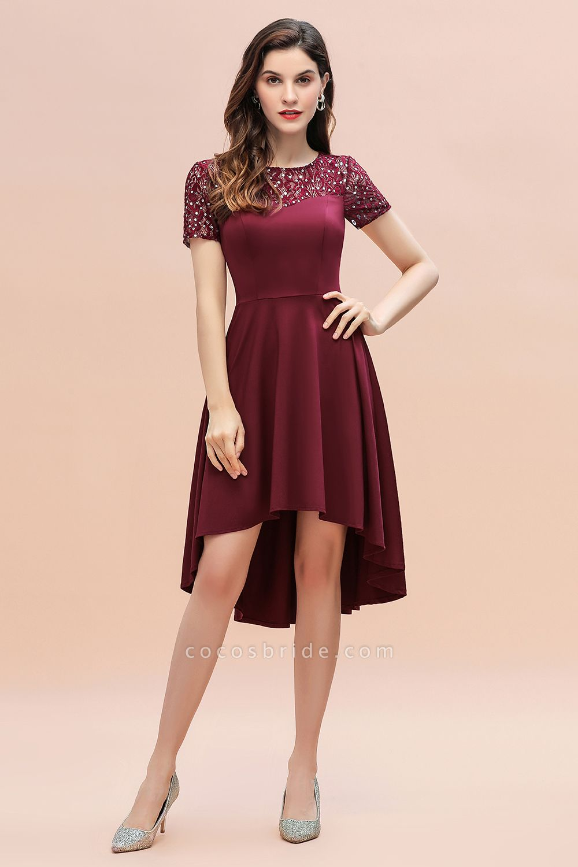 Short Sleeve Sequins Evening Hi-Lo Dress Tea Length Cocktail Dress