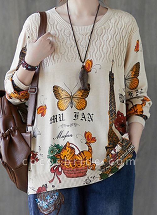 Round Neckline Animal Casual Loose Regular Shift Sweaters