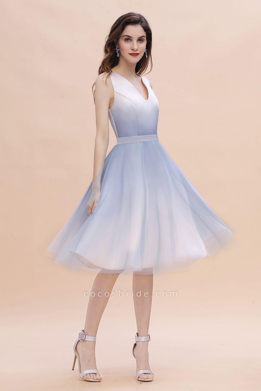 Elegant V-Neck Gradient A-line Mini Homecoming Dress