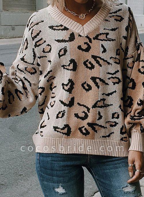 V-Neckline Leopard Elegant Loose Regular Shift Sweaters