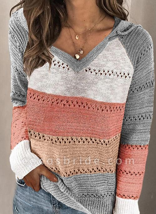 Hooded Color Block Casual Loose Regular Shift Sweaters
