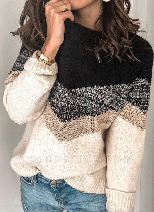 Round Neckline Color Block Casual Loose Regular Shift Sweaters