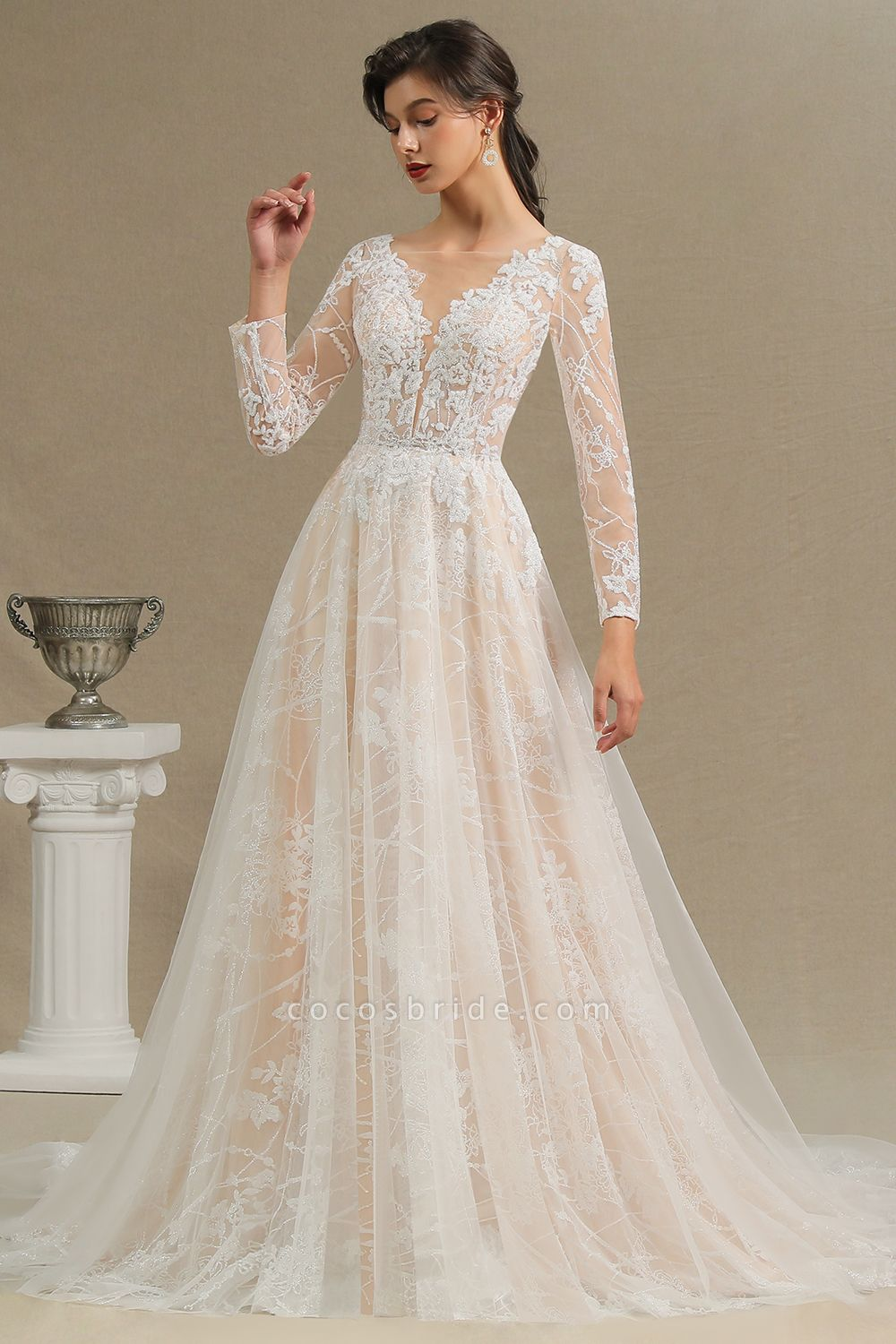 Amazing Long Sleeve Rulle Tulle A-line Wedding Dress