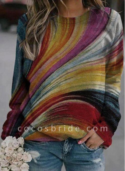 SALE Round Neckline Color Block Casual Loose Regular Shift Sweaters