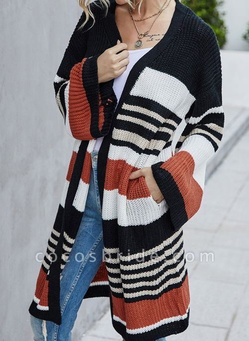 V-Neckline Color Block Casual Loose Long Pockets Sweaters