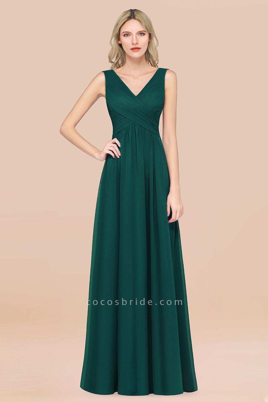 A-Line Chiffon Straps V-Neck Sleeveless Floor-Length Bridesmaid Dress with Ruffles