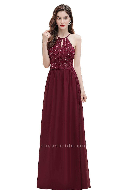 Halter Sequins A-line Chiffon Evening Dress