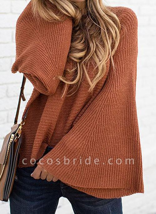 Round Neckline Solid Casual Loose Regular A-line Sweaters