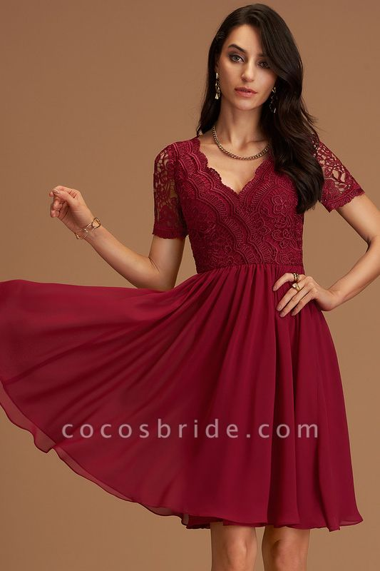 A-Line V-neck Chiffon Cocktail Dress With Lace