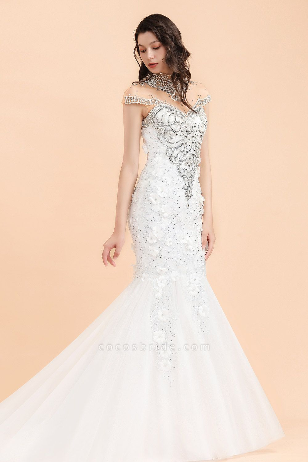 Appliques Crystal Beads Tulle Mermaid Wedding Dress