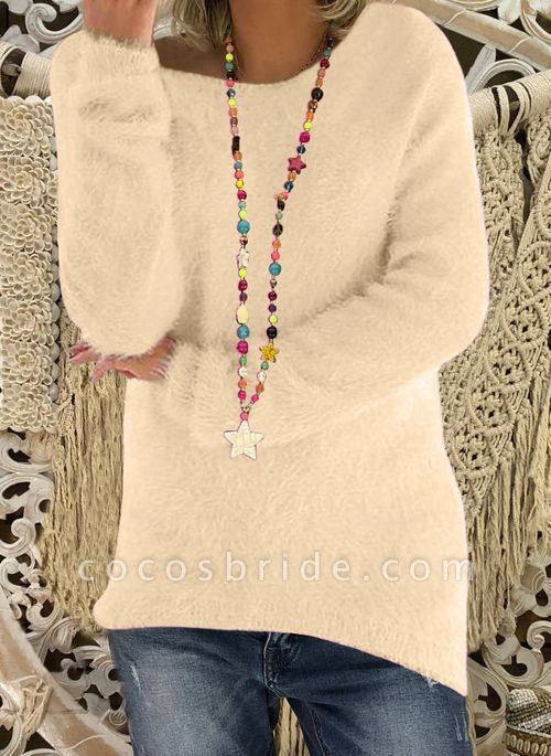 Round Neckline Solid Casual Loose Long Shift Sweaters