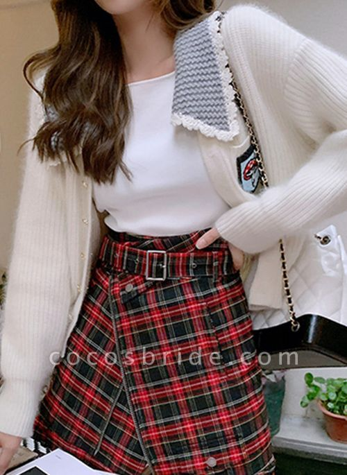 Collar Color Block Casual Loose Regular Pockets Buttons Sweaters