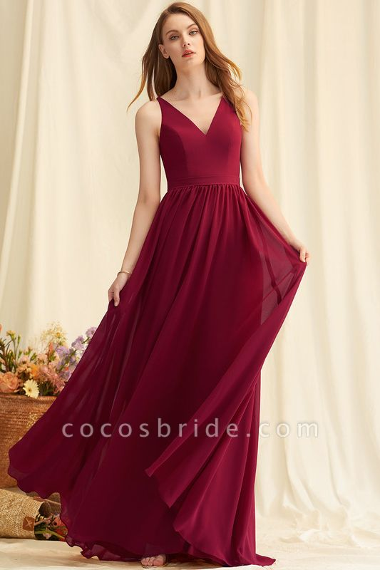 A-Line Floor-Length Chiffon Evening Dress With Lace
