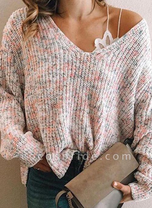 V-Neckline Color Block Casual Loose Regular Shift Sweaters