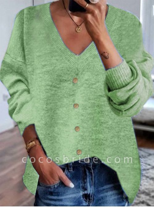 V-Neckline Solid Casual Loose Shift Sweaters