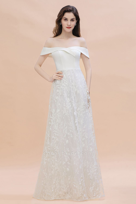 A-Line Off The Shoulder Lace Long Wedding Dress