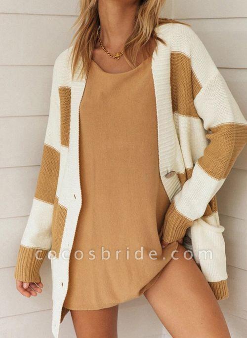 V-Neckline Color Block Casual Loose Regular Pockets Buttons Sweaters