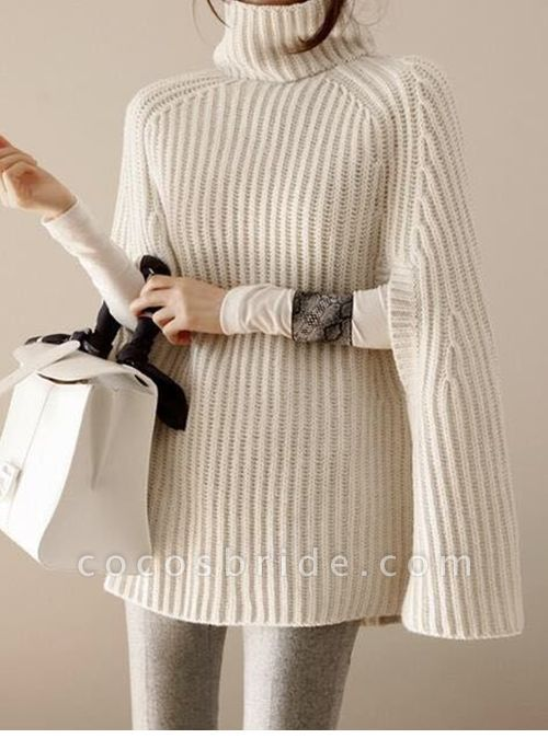 High Neckline Solid Casual Loose Shift Sweaters