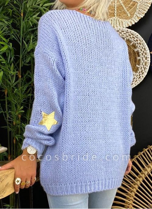 V-Neckline Solid Casual Loose Regular A-line Sweaters