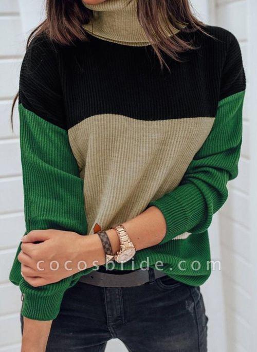 High Neckline Color Block Casual Loose Regular Shift Sweaters