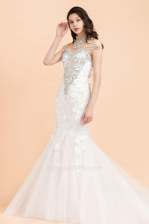 Appliques Crystal Beads Tulle Mermaid Wedding Dress
