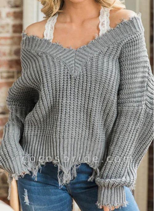 V-Neckline Solid Casual Loose Regular Tassel Sweaters
