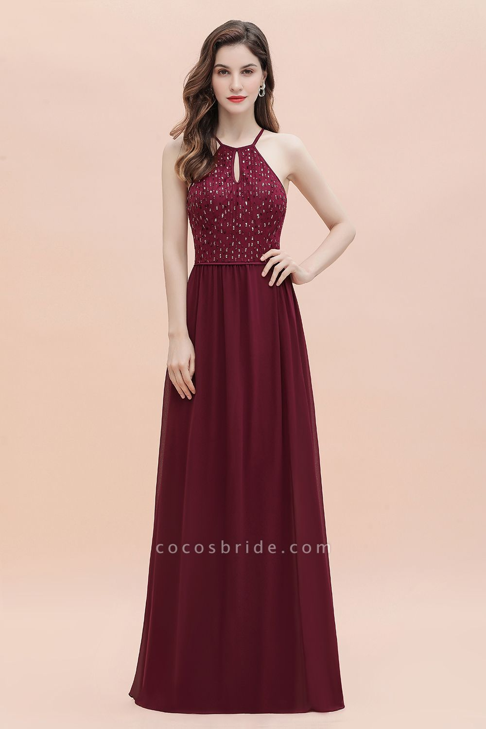 Halter Sequins A-line Chiffon Evening Dress