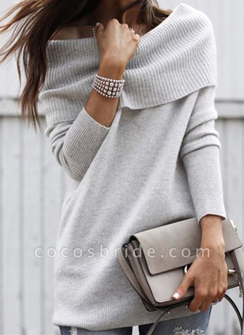 Off the Shoulder Solid Casual Regular Shift Sweaters