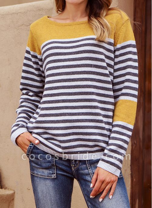 Boat Neckline Stripe Casual Loose Regular Shift Sweaters