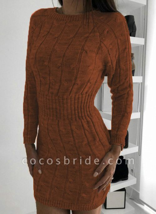 Round Neckline Solid Casual Loose Long X-line Sweaters
