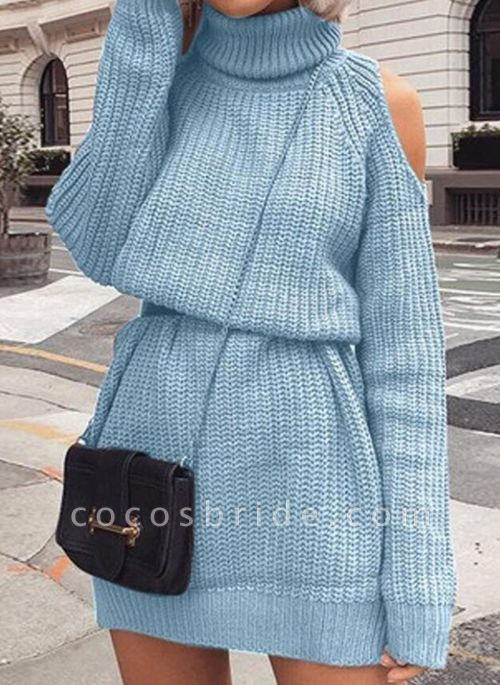 High Neckline Solid Casual Loose Long X-line Sweaters