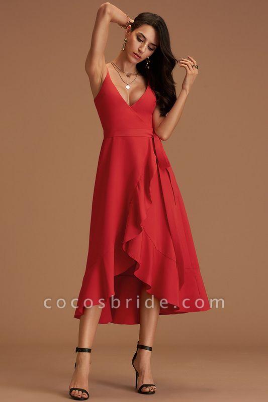 A-Line V-neck Asymmetrical Stretch Crepe Cocktail Dress With Cascading Ruffles