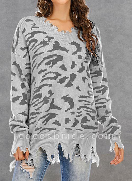 V-Neckline Leopard Casual Loose Regular Shift Sweaters