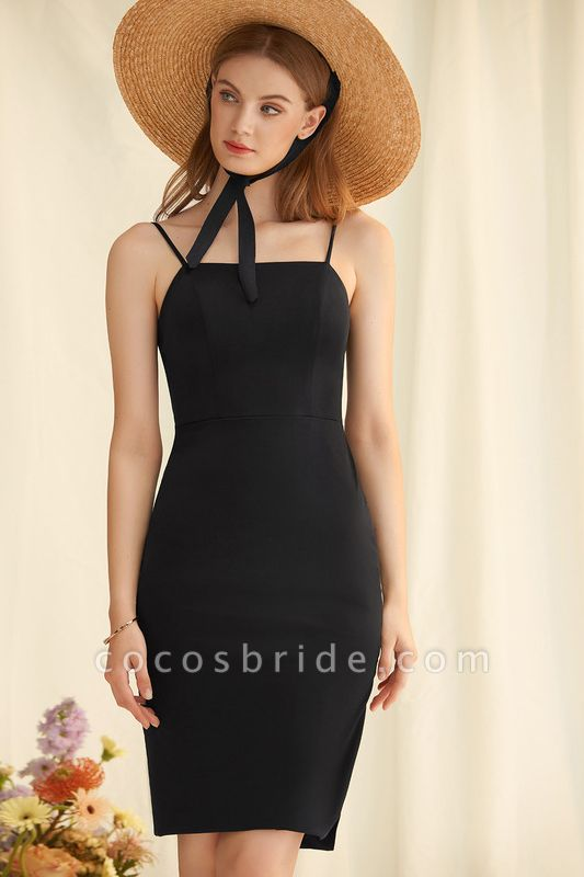Sheath/Column Square Neckline Knee-Length Jersey Cocktail Dress