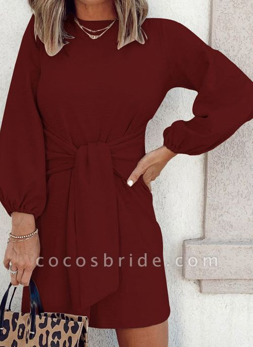 Round Neckline Solid Casual Loose Long Sashes Sweaters