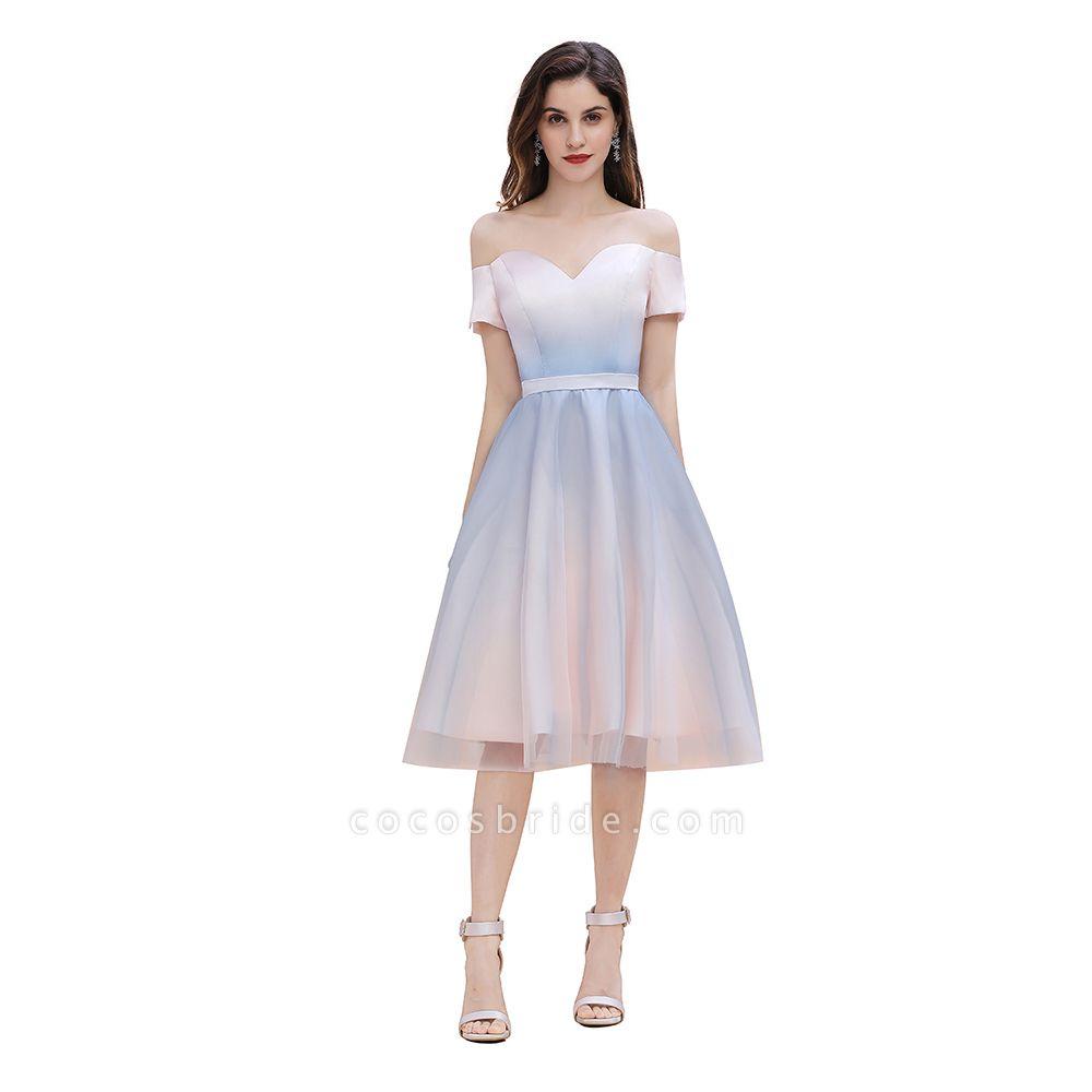 Off Shoulder Sweetheart Gradient A-line Evening Dress Tea Length
