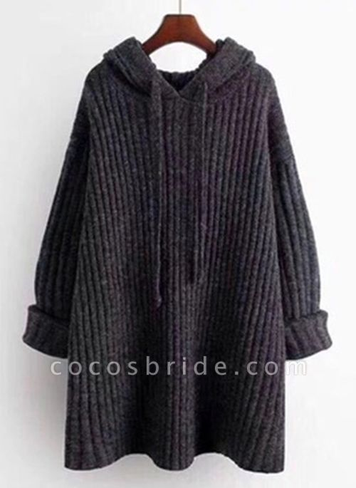 Hooded Solid Casual Loose Regular Shift Sweaters