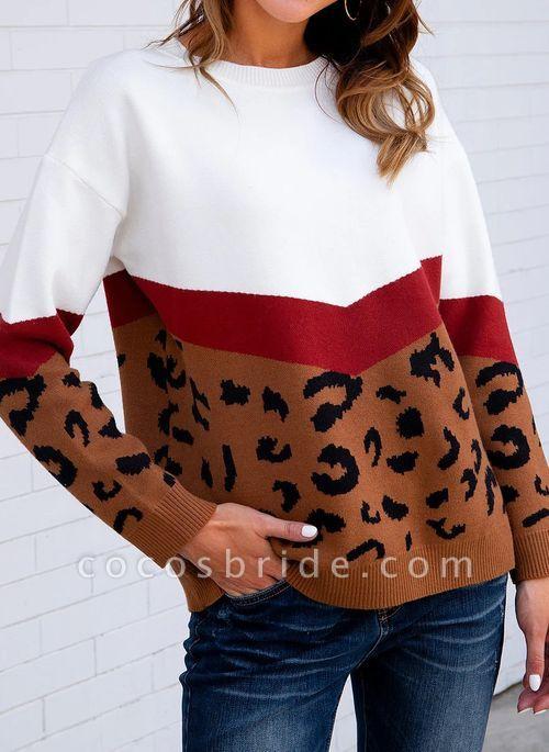 Round Neckline Leopard Casual Loose Regular Shift Sweaters