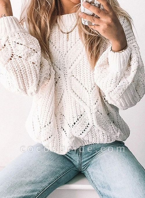 Round Neckline Solid Casual Loose Regular Shift Sweaters