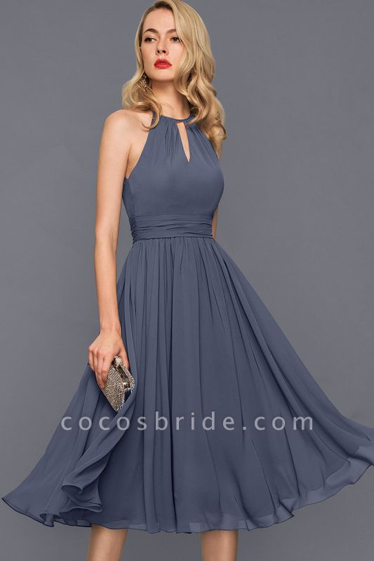 Scoop Neck A-Line Knee-Length Chiffon Cocktail Dress With Ruffle