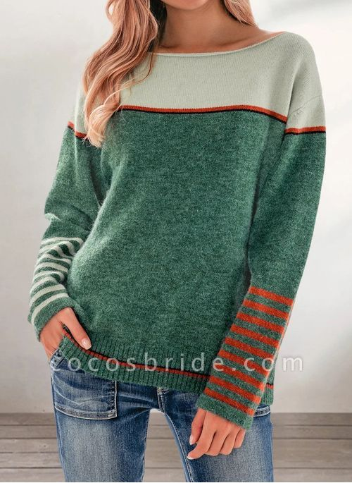 Boat Neckline Color Block Casual Loose Regular Shift Sweaters