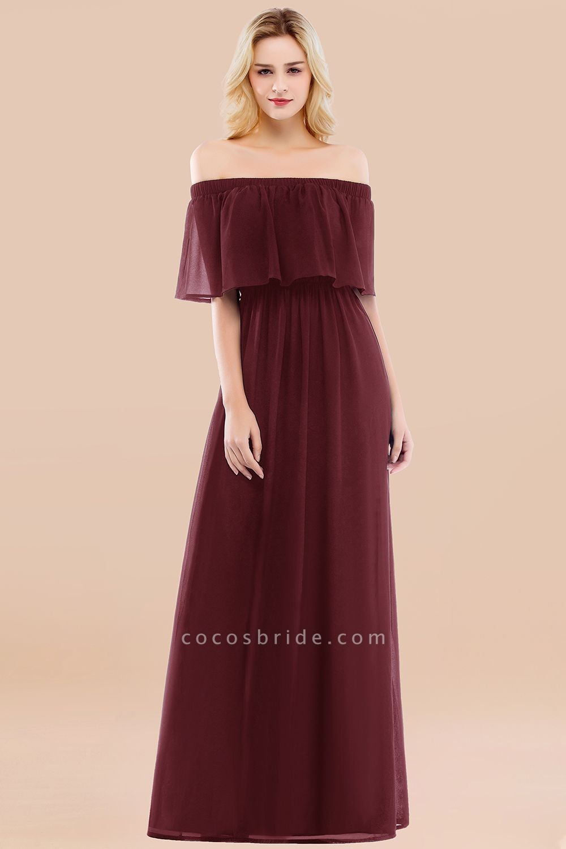 A-line Chiffon Off-the-Shoulder Short-Sleeves Ruffles Floor-length Bridesmaid Dress
