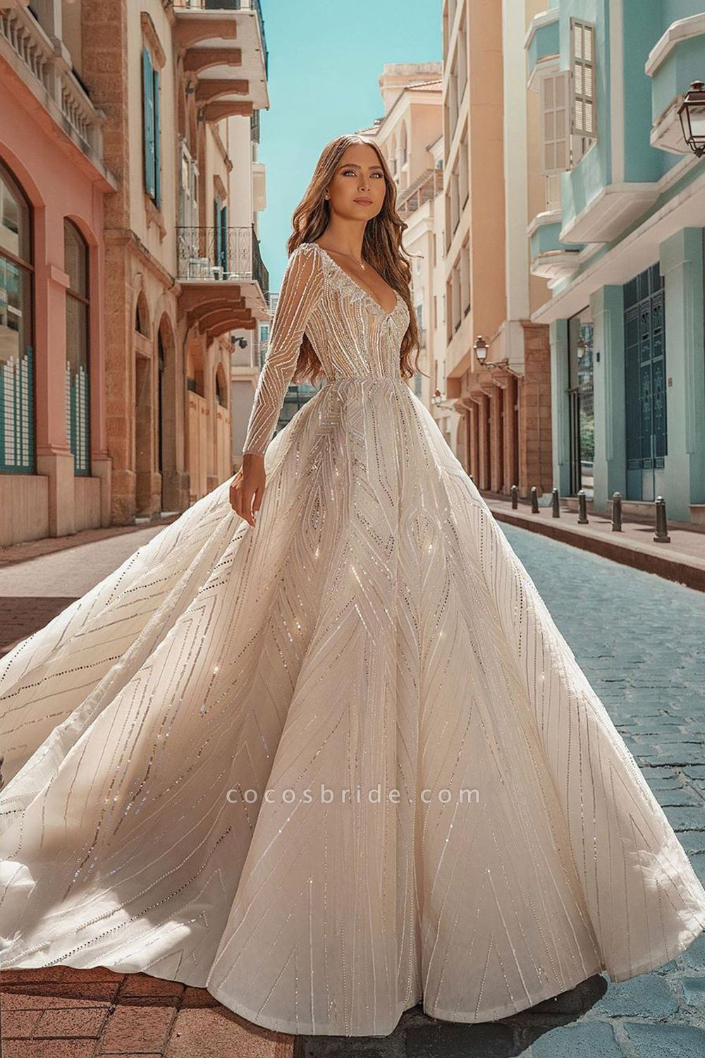 Long Sleeve V-neck Crystal Beads Backless Ball Gown Wedding Dresses