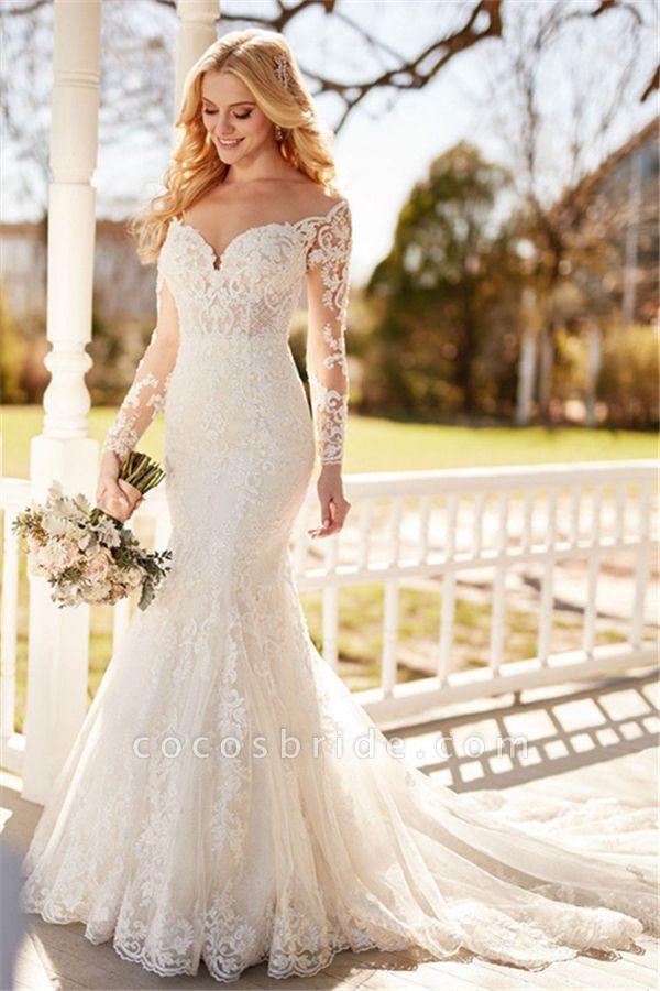 SD1153 Elegant Mermaid  Long Sleeve Lace Appliques Sheer Tulle Wedding Dress
