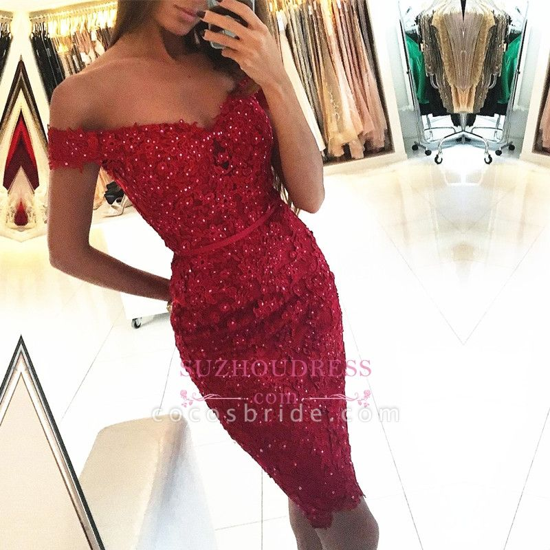 Beautiful Short Mermaid Off the Shoulder Lace Prom Dresses